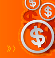 Dollar Signs and Arrows on Orange Background vector image