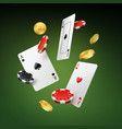 falling cards coins and chips vector image