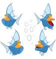 set of cartoon cute deep-water fish vector image