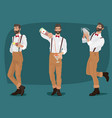 set of three mustachioed hipster bartenders vector image