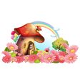 A mushroom house with a garden of flowers vector image vector image