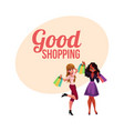 poster banner with girls black and caucasian vector image