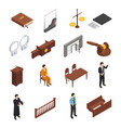 law justice isometric icons set vector image