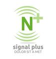 Logo Signal Letter N Plus Green Alphabet Wireless vector image