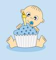 baby boy birthday cake vector image