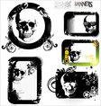 Skull grunge banner - set vector image vector image