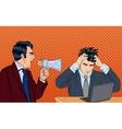 Angry Boss Screaming in Megaphone Pop Art vector image