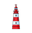 cartoon classic red and white lighthouse vector image