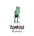 cute green zombie character in cartoon style vector image