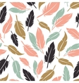 Feather seamless pattern in boho colors vector image