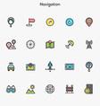 Flat line color icons Navigation vector image