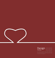 Heart ribbon on red background minimal style for vector image