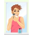 Portrait of young handsome man shaving vector image