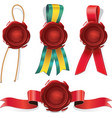 Set of red wax seals with ribbon and rope vector image