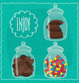 set of transparent glass jars with sweets vector image