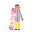 Skiing snowboard woman vector image