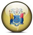 Map on flag button of USA New Jersey State vector image
