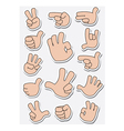 Collection of sticker gestures vector image