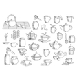 Tea and beverages hand drawn objects vector image vector image