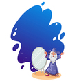 A wizard beside the mirror vector image