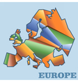 Digital europe map with abstract vector image