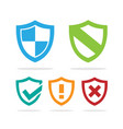 set of colored protection shield icons on a white vector image