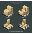 set of dark isometric cardboard boxes vector image