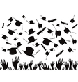 Students graduating and tossing caps vector image
