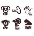 Set of ram sheep lamb head graphic logo vector image