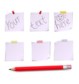 Notes white and pensil with text vector image