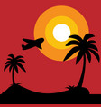 island with black silhouette of palm trees and vector image