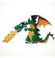 fabulous magical green with teeth fire-spitting vector image vector image