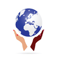 woman hand black and white holding earth vector image