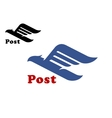 Post symbol with abstract blue bird vector image