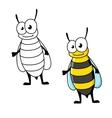 Cartoon yellow jacket wasp insect character vector image