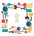 Background design with locks and keys icons vector image
