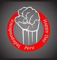 fist in red circle with inscription happy vector image