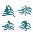 set of logos on the theme of the sea vector image