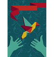 Hand and origami hummingbird vector image