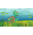 A turtle running along the pond vector image