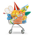 supermarket cart with beach accessories vector image
