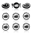 Steak - medium rare well done grilled icons set vector image