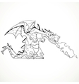fabulous magical red fire-spitting dragon black vector image vector image
