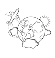 Air travel around the earth sketch vector image vector image