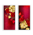 Two Red Banners with Gold Roses vector image vector image