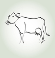 cow simple icon in black lines vector image vector image