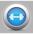 blue metal button with dumbbell vector image