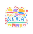 happy birthday logo colorful hand drawn vector image