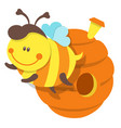 isolated bee and beehive vector image