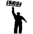silhouette of a man with a banner vector image